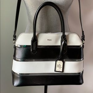 L Ralph Lauren clear striped crossbody satchel bag